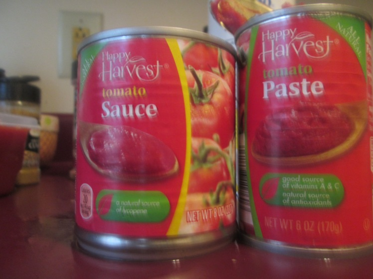 3 8oz cans of tomato sauce,1 Tbsp of tomato paste.