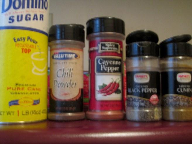 1 Tbsp sugar,1 tbsp chili powder,2 tsp cayenne pepper,black peeper(to taste) 1 Tbsp cumin