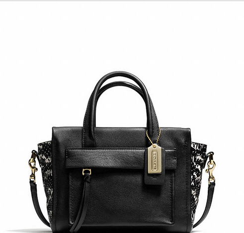 BLEECKER MINI RILEY CARRYALL IN TWO TONE PYTHON EMBOSSED LEATHER