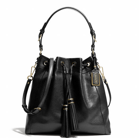MADISON PINNACLE DRAWSTRING SHOULDER BAG IN LEATHER